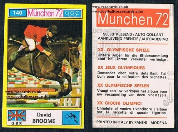 1972 David Broome equestrian show jumping Panini 140 Munchen 72